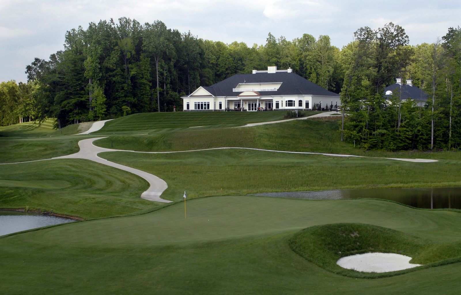 View of the clubhouse over the greens
